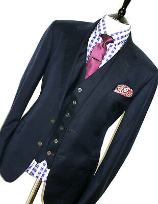 Mens Paul Smith British Collection Navy Custom Bespoke-Made 3 Piece Suit 44R W38