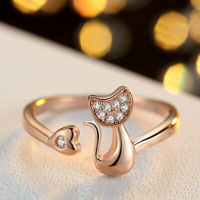 Lovely Rose Gold Cat Open Rings Adjustable Ring Women Girl Jewelry Gift Party