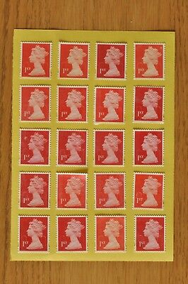 100 Red Unfranked 1st First Class Security Stamps - Gummed - With Minor Faults