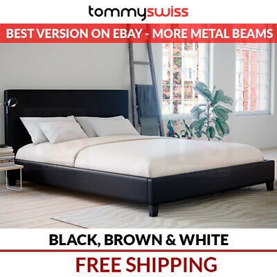 NEW PU Leather Bed Frame King, Queen, Double, KS, Single (Black, Brown & White)