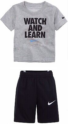 21a3fa1ebd8 New NIKE Top Shirt & Basketball Shorts Outfit Set Boy 6 WATCH LEARN 5-6