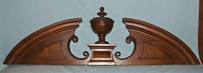 Large Carved Wood Architectural Salvage Furniture Pediment w/Finial