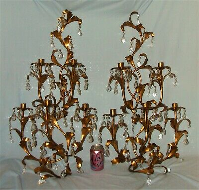 "PAIR 36"" Tall Stunning Gold Gilt Metal & Crystal Prisms Italian Candle Sconces."