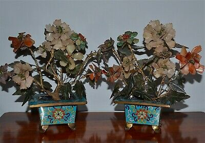 Antique Chinese Pair Jade Hardstone Carnelian Turquoise Plant Tree Cloisonne Pot