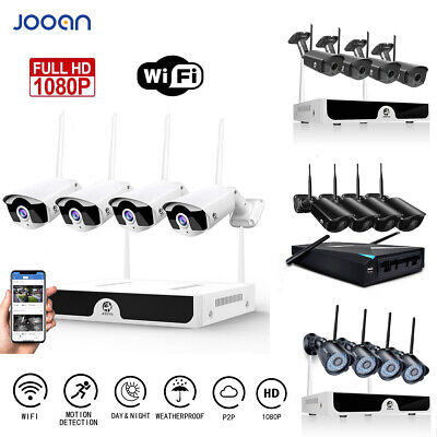 JOOAN 4CH Wireless 1080P NVR Outdoor Indoor WIFI Camera CCTV Security System Kit