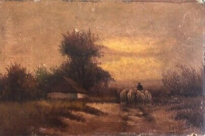 Antique 19th Century Painting PASTORAL LANDSCAPE WITH SHEEP Oil on Canvas SIGNED