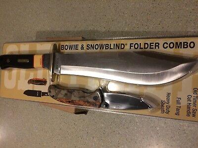 Schrade   Old Timer Hunting Bowie Knife W/ Sheath & Folding Knife