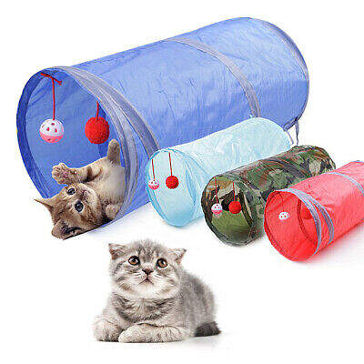 Foldable Pet Tunnel Cat Outdoor Game Playing Toy Kitten Rabbit Cute Toys w/ Bell
