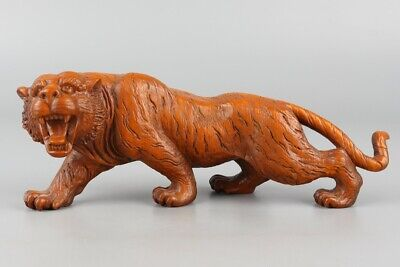 Chinese Exquisite Hand-carved Boxwood tiger statue