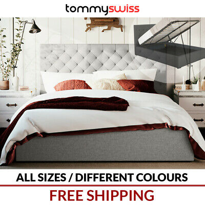 TOMMY SWISS Gas Lift Storage Fabric Bed Frame in King Queen Double Sizes Audrey