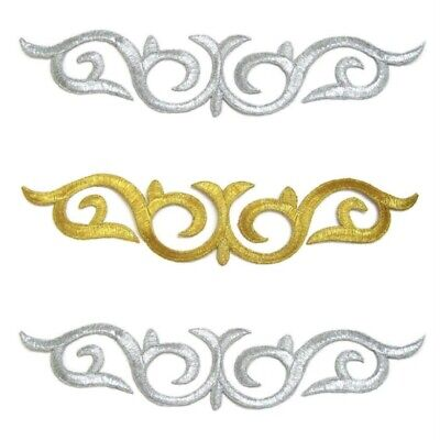 Silver Gold Applique Trim Iron On Embroidery, Dance Stage Cosplay Costume #141