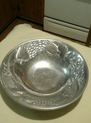 vintage the wilton co. RWP fruit pattern pewter bowl decorative