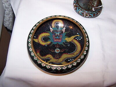 FINE WORK QING 19TH DRAGONS PEARL Antique Chinese cloisonne brush washER BOWL