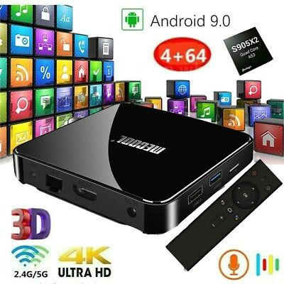 MECOOL Quad Core Android 9.0 Smart TV Box 4+64GB WIFI BT 4K Media Streamer UHD