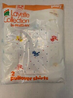 Vintage Health-Tex Layette Collection Baby Pullover Shirts Pack of 2 New 12-18mo