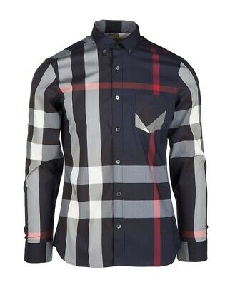 Burberry London men's navy long sleeve casual check button down shirt s,2xl,3xl