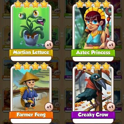 4 Cards Pack Bundle   Martian Lettuce   Aztec   Feng   Creaky Crow   Coin Master
