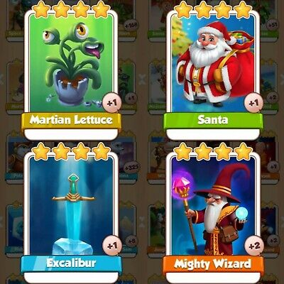 4 Cards Pack Bundle | Martian Lettuce | Santa | Excalibur | Wizard | Coin Master