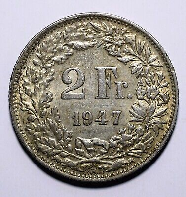1947 Switzerland 2 Two Francs - 83.5% Silver - Lot 206
