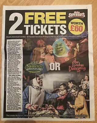 2 X Shrek's Adventure Or 2 X The London Dungeon, Booking Form + All 10 Tokens