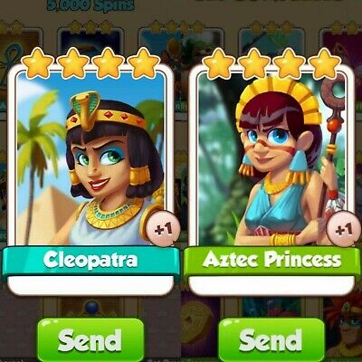 2 Rare Cards Pack Bundle | Cleopatra | Aztec Princess | Egypt Set | Coin Master