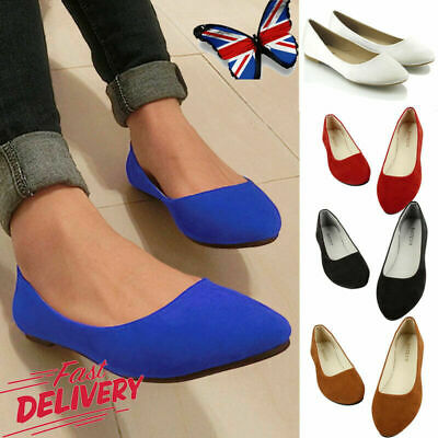 Womens Ballerina Ballet Dolly Pumps Slip On Ladies Flat Boat Loafers Shoes Size