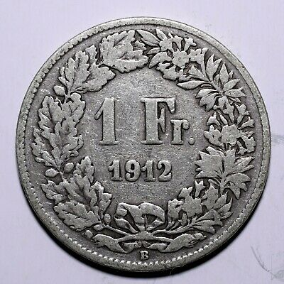 1912 Switzerland One 1 Franc - 83.5% Silver issue - Lot 566