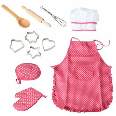 Kids Chef Apron and Hat Set Children Kichen Cooking Baking Cooks Play Gift 11pcs