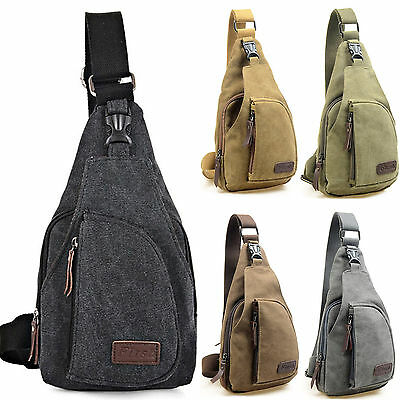 Mens Crossbody Sling Canvas Chest Bags Work Travel Hiking Messenger One Shoulder