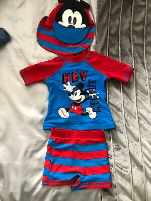 Mickey Mouse Swimsuit Swimwear Wetsuit Hat 12-18 Months Red Blue