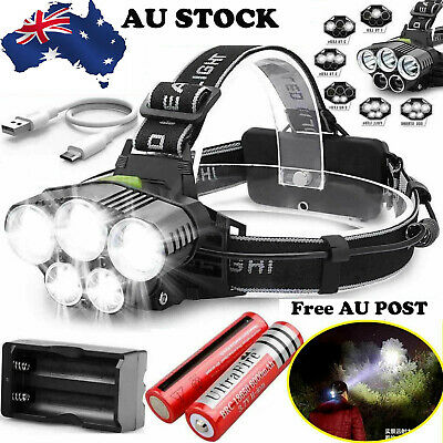 90000Lm 5X Xm-L T6 R5 Led Headlamp Head Light Head Torch Flashlight Camping Lamp