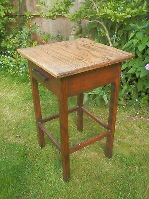 Vintage Oak Hall Console Side Table with Drawer