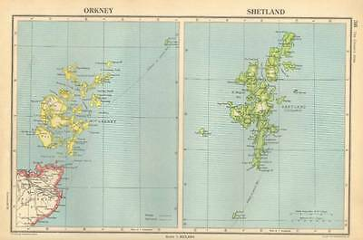 Antique Map 1947 Bartholomew Orkney and Shetland The British Isles
