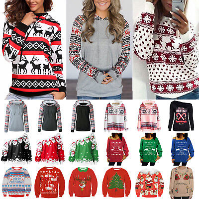 Womens Xmas Christmas Ugly Hoodie Hooded Sweatshirt Sweater Jumper Pullover Tops