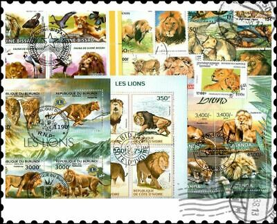 Lions : 25 Different Stamps Collection