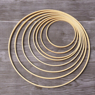 10pcs Bamboo Rings DIY Wood Round Dream Catcher Ring Hoop for Woman Female Girl