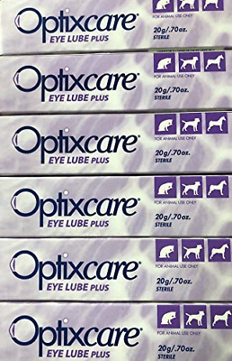 OptixCare Eye Lube Plus 6 Pack of Tubes of 20g for Dog Cat Horses,