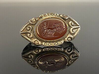Roman Silver And Gold Ring With Intagilo