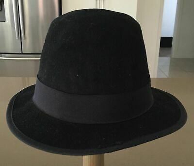Mens Vintage J HATS AMERICANA COLLECTIONS Black Bowler Hat Size L (approx. 60cm)