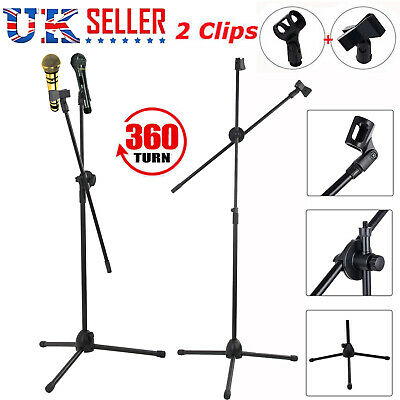 New Professional Boom Microphone Mic Stand Holder Adjustable With 2 Free Clips