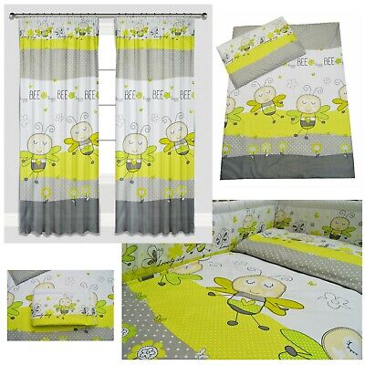 Green Bees Baby Bedding Set Duvet Covers/Curtains Cot/Cot bed/Toddler Girl Boy