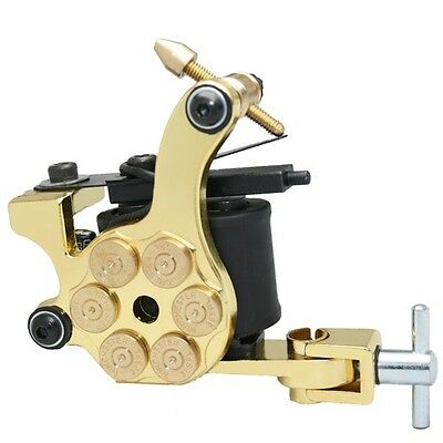 GOLD Bullet chamber PROFESSIONAL TATTOO MACHINE for power supply gun clip cord