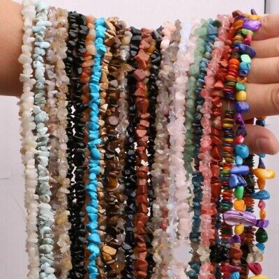 Assorted Chips Gravel Shape Natural Stone Beads Strand Jewelry Making Bracelet