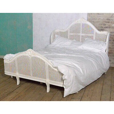 Rococo French Bed King Size Antique White Wooden Carved Bedroom furniture