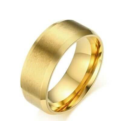 18K Gold Plated Bands Men's Brushed 316L Stainless Steel Wedding Ring Size-5-14
