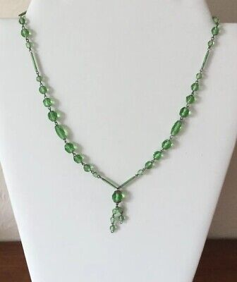 Vintage Art Deco Green Faceted Glass Drop & Silver Tone Necklace c1930's