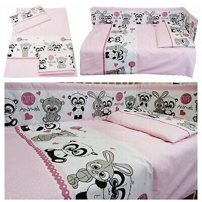 PINK CUTE ANIMALS Girls Bedding Set Duvet Covers/Curtains Cot/Cot bed/Toddler
