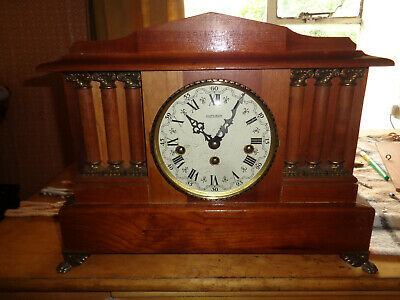 German Vintage Art Deco Mantle Clock with Westminster chime