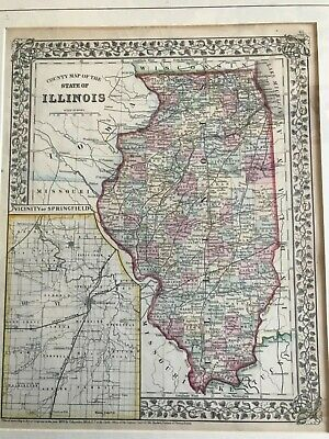 ANTIQUE COUNTY MAP OF THE STATE OF ILLINOIS MITCHELL GENERAL ATLAS 1871 pg 45
