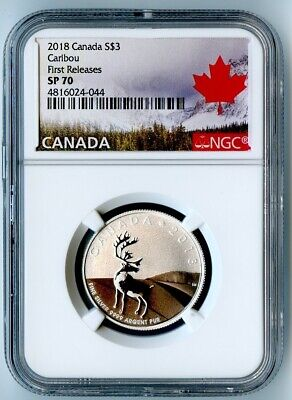 2018 Canada Ngc First Releases Sp70 Silver Caribou S$3!